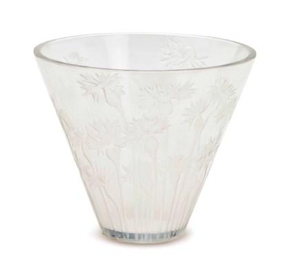 A FRENCH GLASS VASE BLUETS VAS