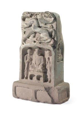 A CHINESE CARVED SANDSTONE BUD