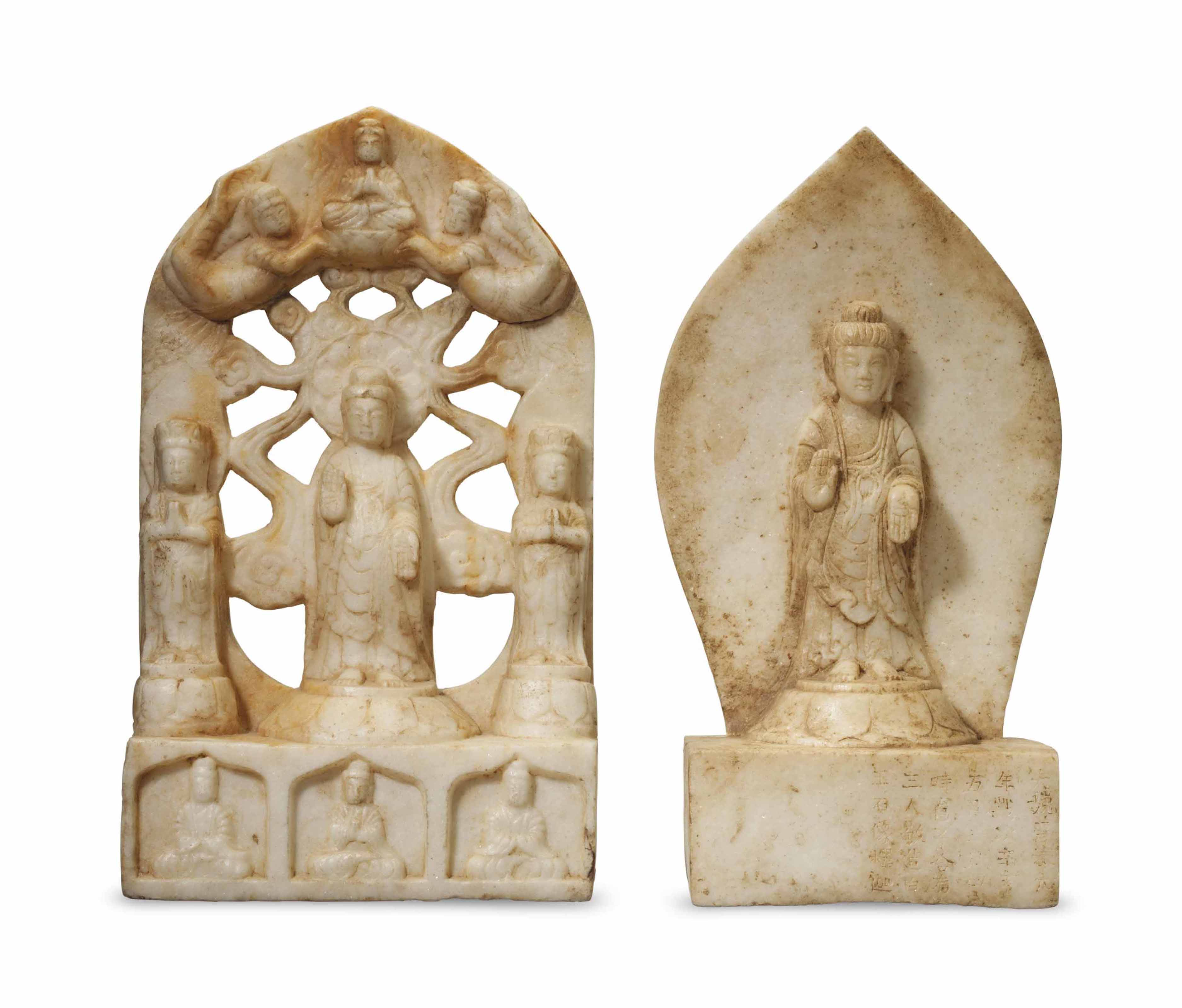 TWO CHINESE CARVED WHITE MARBL