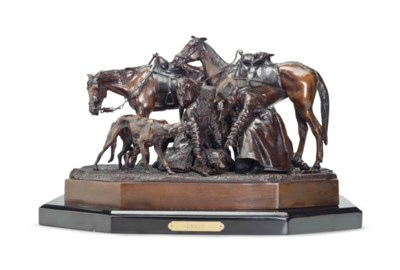 A BRONZE GROUP OF A HUNTING SC