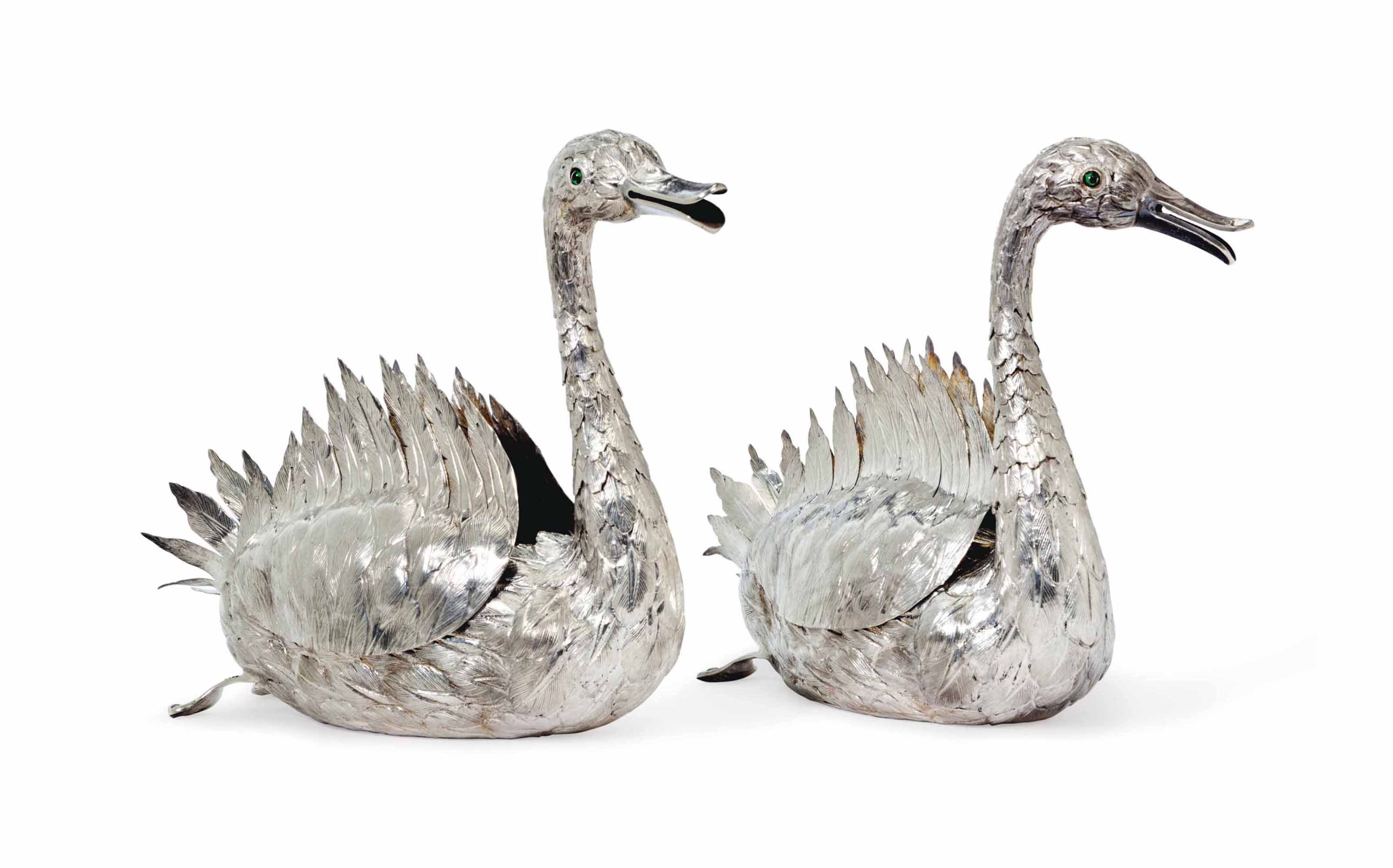 A PAIR OF PORTUGUESE SILVER SW