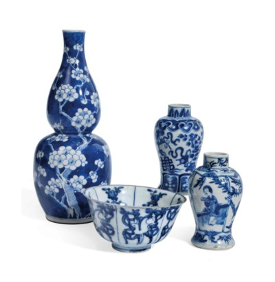 FOUR CHINESE BLUE AND WHITE PO