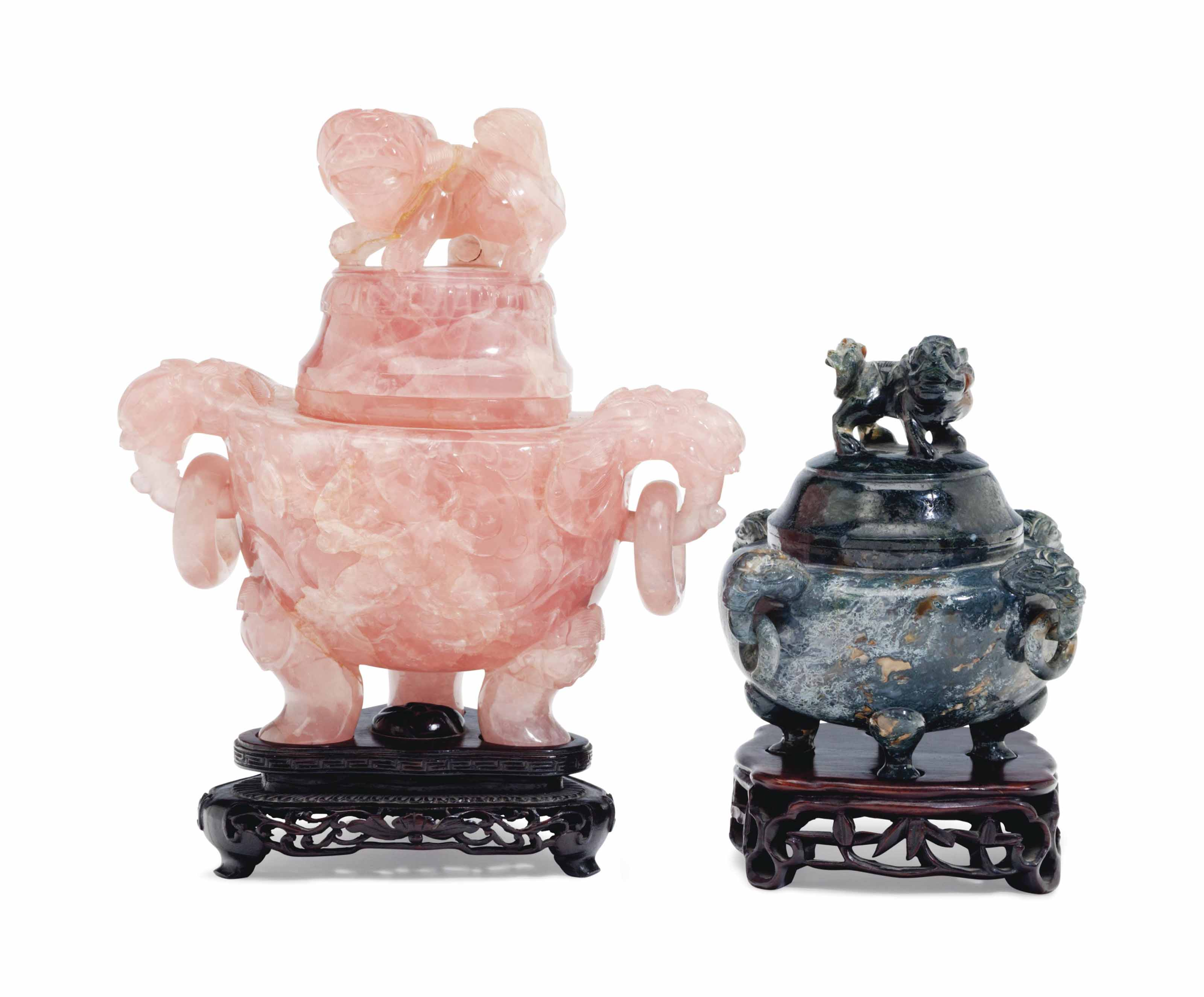 TWO CHINESE CARVED HARDSTONE T