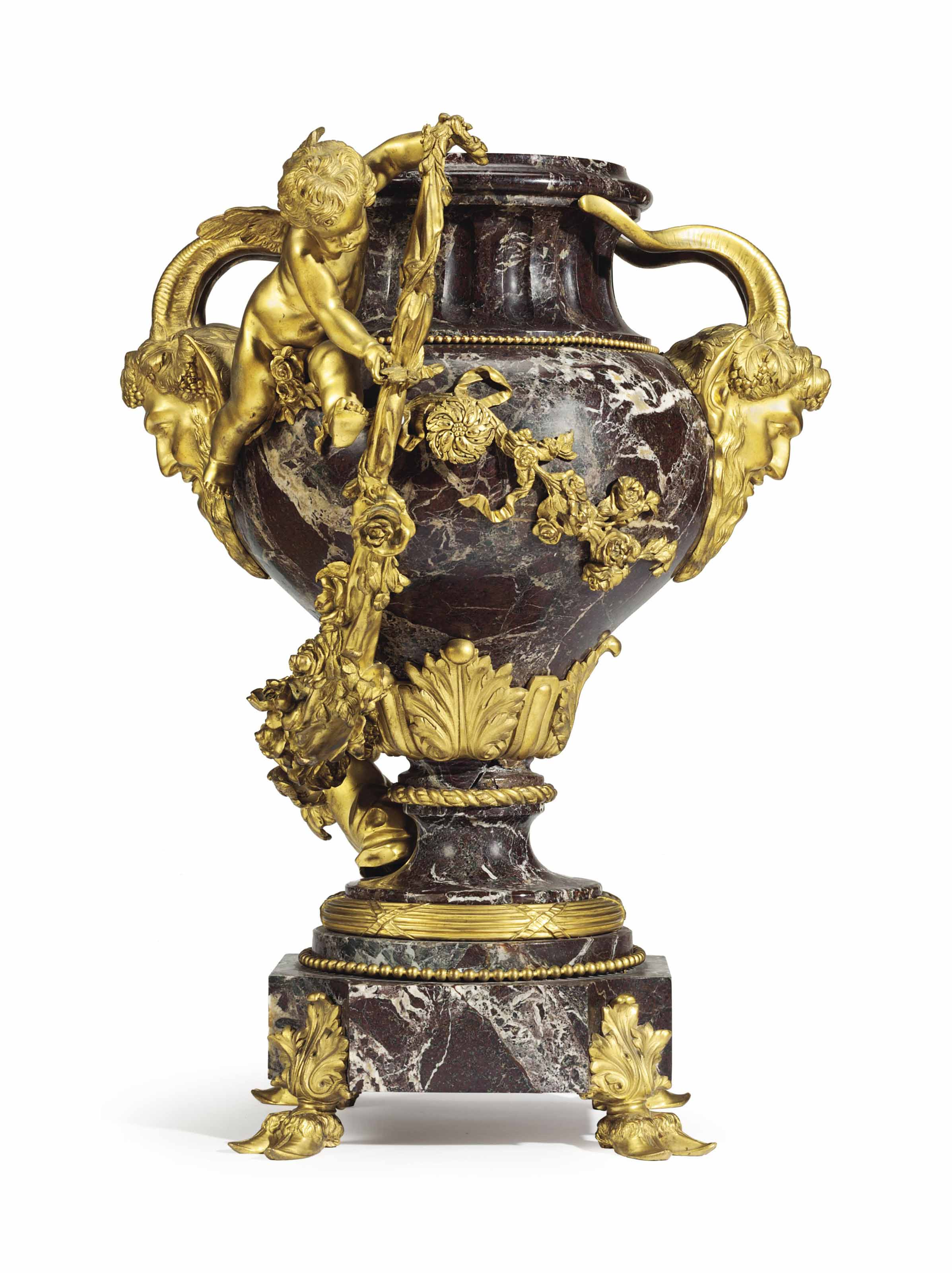 A FRENCH ORMOLU-MOUNTED ROUGE MARBLE VASE