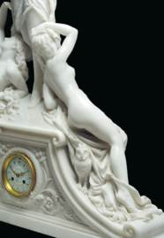 A FRENCH WHITE MARBLE FIGURAL