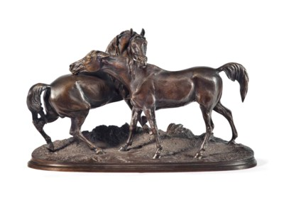 A FRENCH PATINATED BRONZE TITL