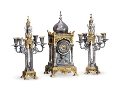A FRENCH ORMOLU AND SILVERED-B