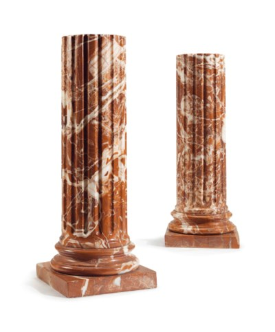 A PAIR OF ROUGE MARBLE COLUMNS