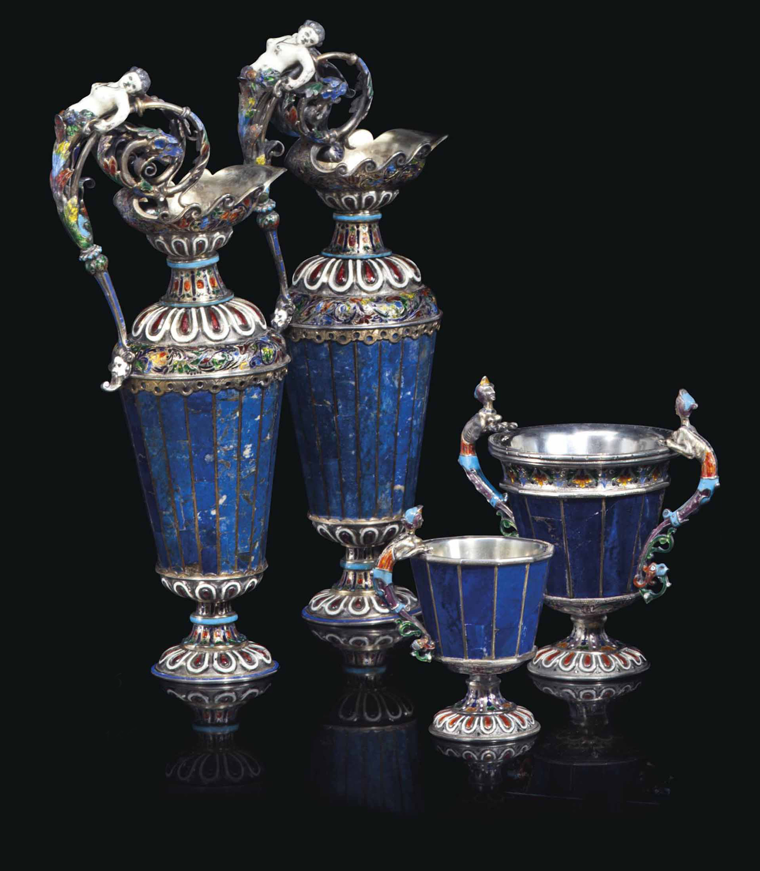 A GROUP OF FOUR VIENNESE SILVE