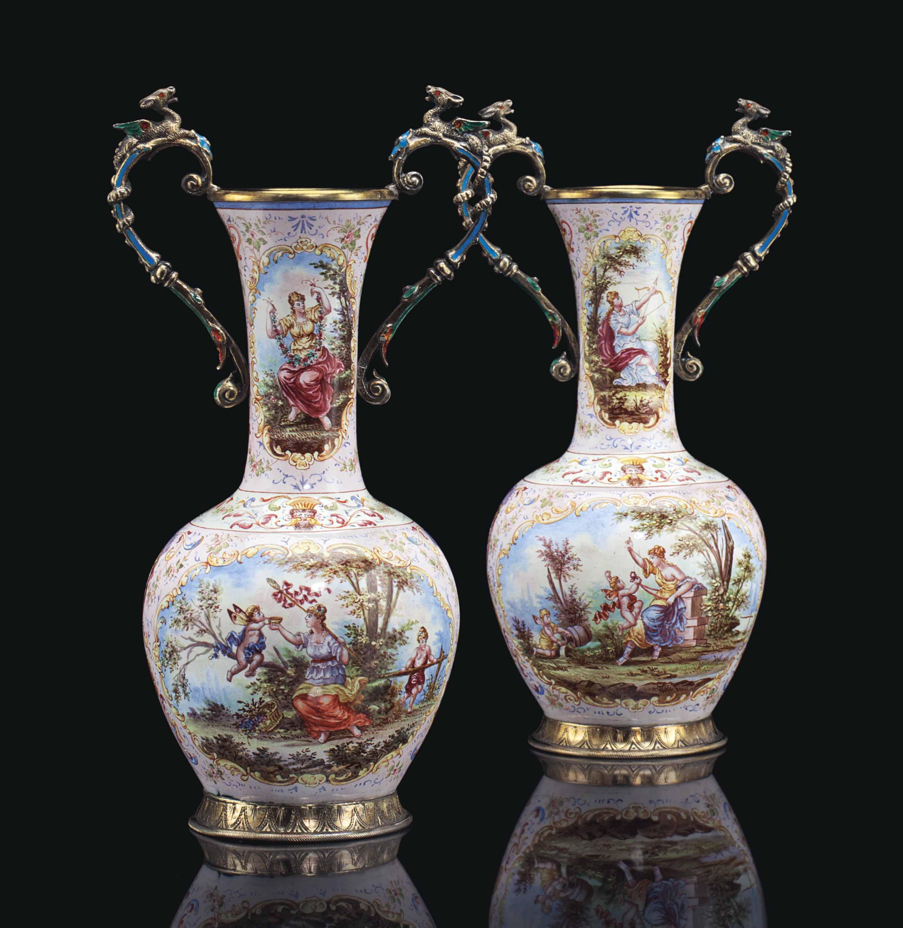 A PAIR OF VIENNESE SILVER AND