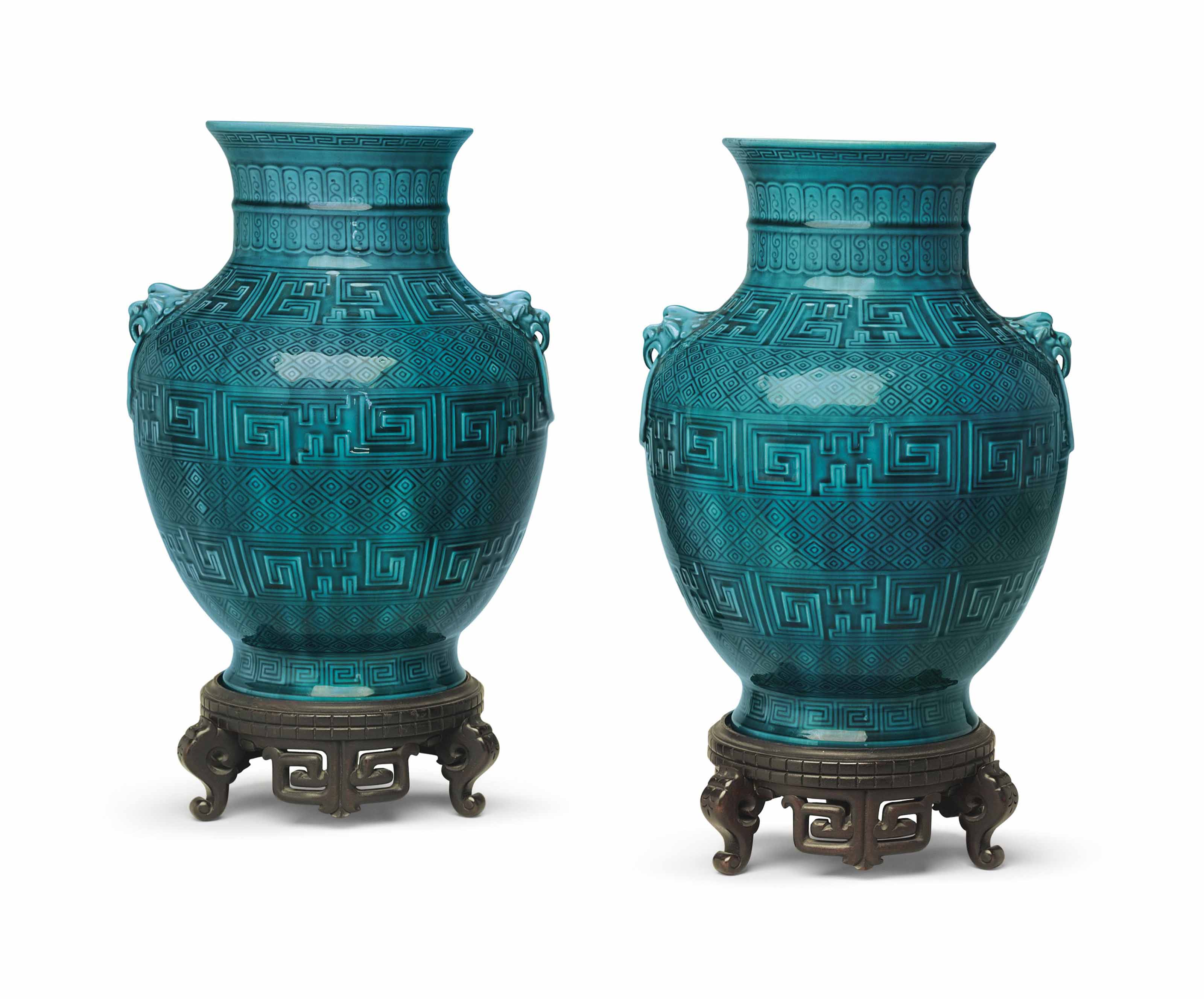 A PAIR OF THEODORE DECK FAIENCE PERSIAN-BLUE GROUND VASES