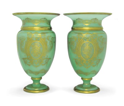 A PAIR OF FRENCH GREEN OPALINE