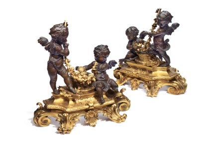 A PAIR FRENCH ORMOLU AND PATIN