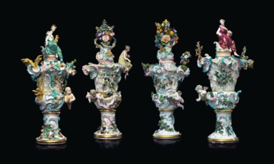FOUR MONUMENTAL MEISSEN PORCEL