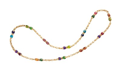 A MULTI-GEM AND GOLD LONGCHAIN
