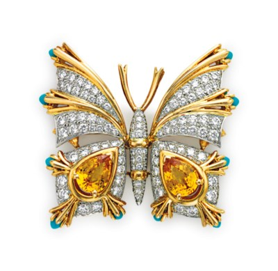 A YELLOW SAPPHIRE, TURQUOISE A