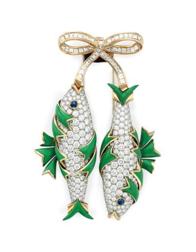 A DIAMOND, ENAMEL AND GOLD FIS