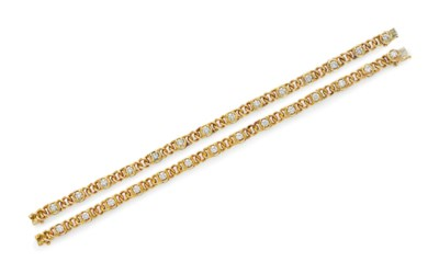 TWO DIAMOND AND GOLD BRACELETS