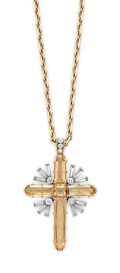 A TOPAZ AND DIAMOND CROSS PEND
