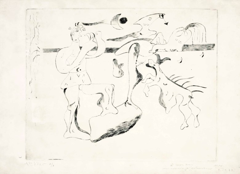Joan Miró (1893-1983), Daphnis et Chloé, 1933. Drypoint, on Arches paper. Sheet 13 x 19⅞ in (330 x 505 mm). Sold for $8,125 on 27-28 October 2015 at Christie's in New York. © Successió Miró  ADAGP, Paris and DACS London 2020
