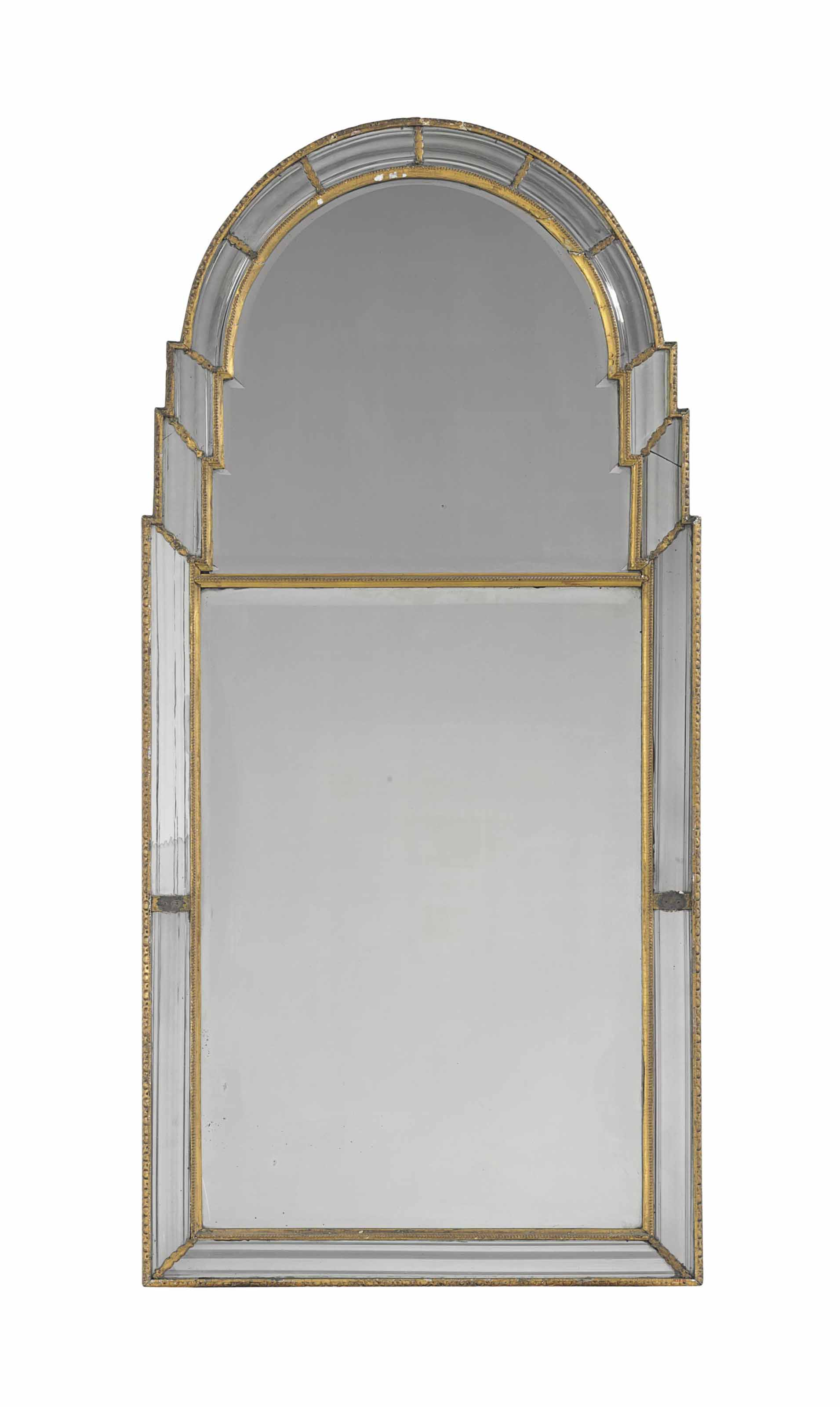 A QUEEN ANNE GILTWOOD MIRROR