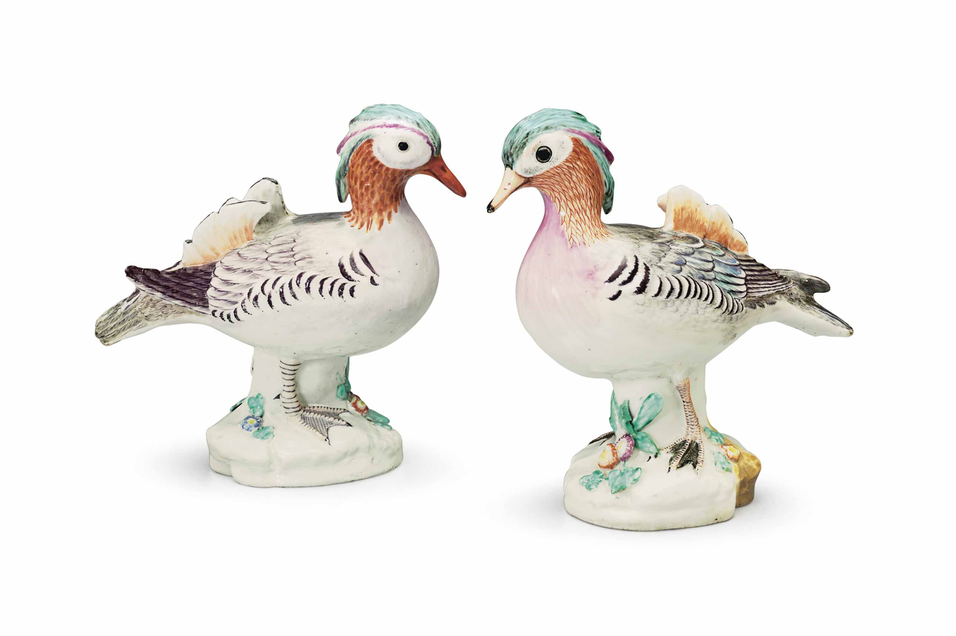 TWO CHELSEA PORCELAIN MODELS OF CHINESE TEALS