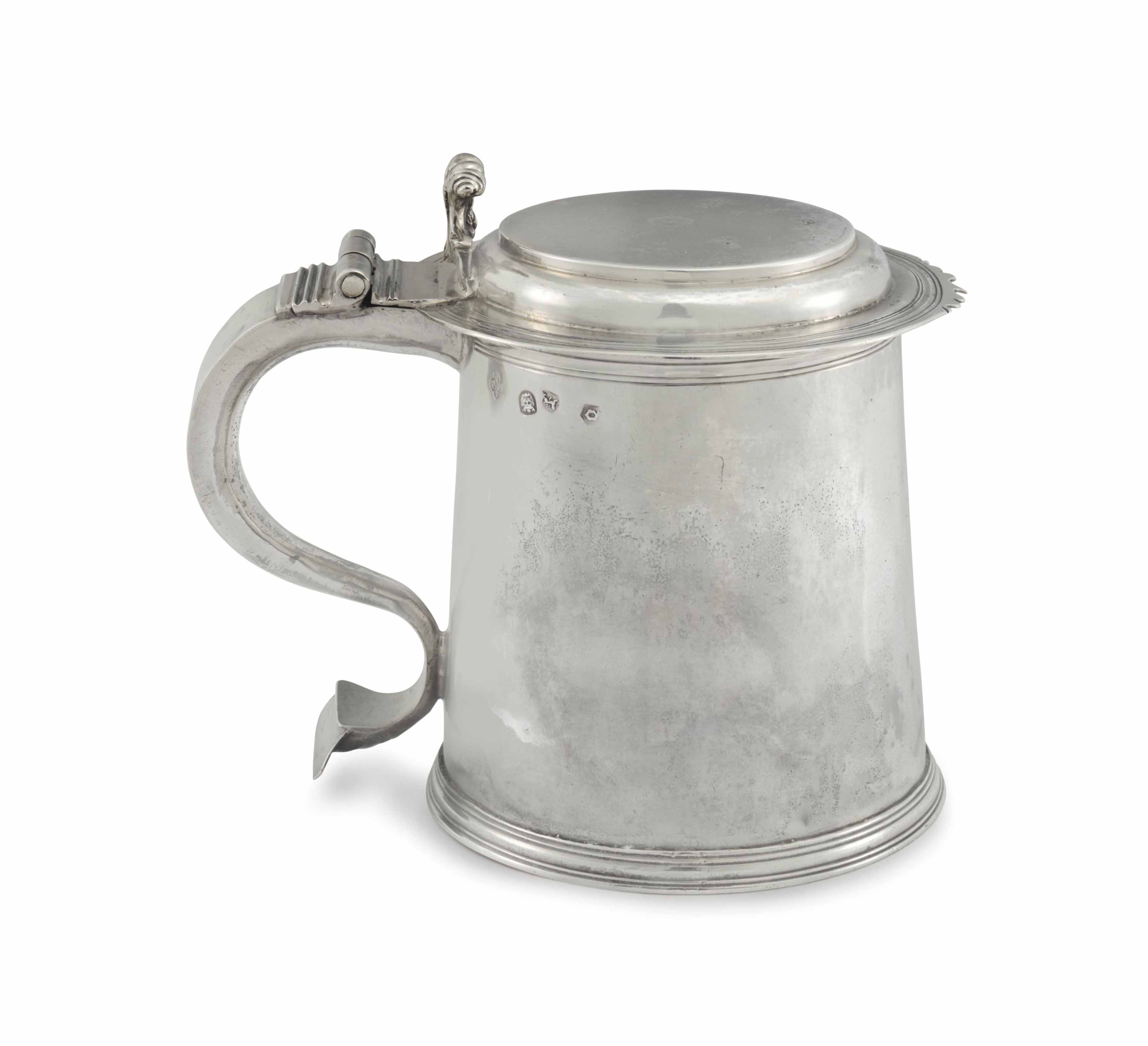 A charles ii silver tankard maker 39 s mark pm between two for Maker jackson