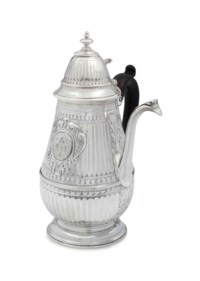 A GEORGE I SILVER CHOCOLATE POT