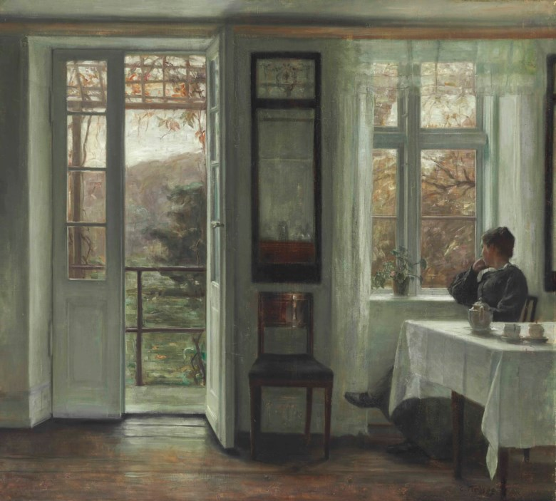Carl Vilhelm Holsøe (Danish, 1863-1935), The Artists Wife Sitting at a Window in a Sunlit Room. Oil on canvas. 32¼ x 35½  in (81.9 x 90.2  cm). Sold for $167,000 on 28 October 2015 at Christie's in New York