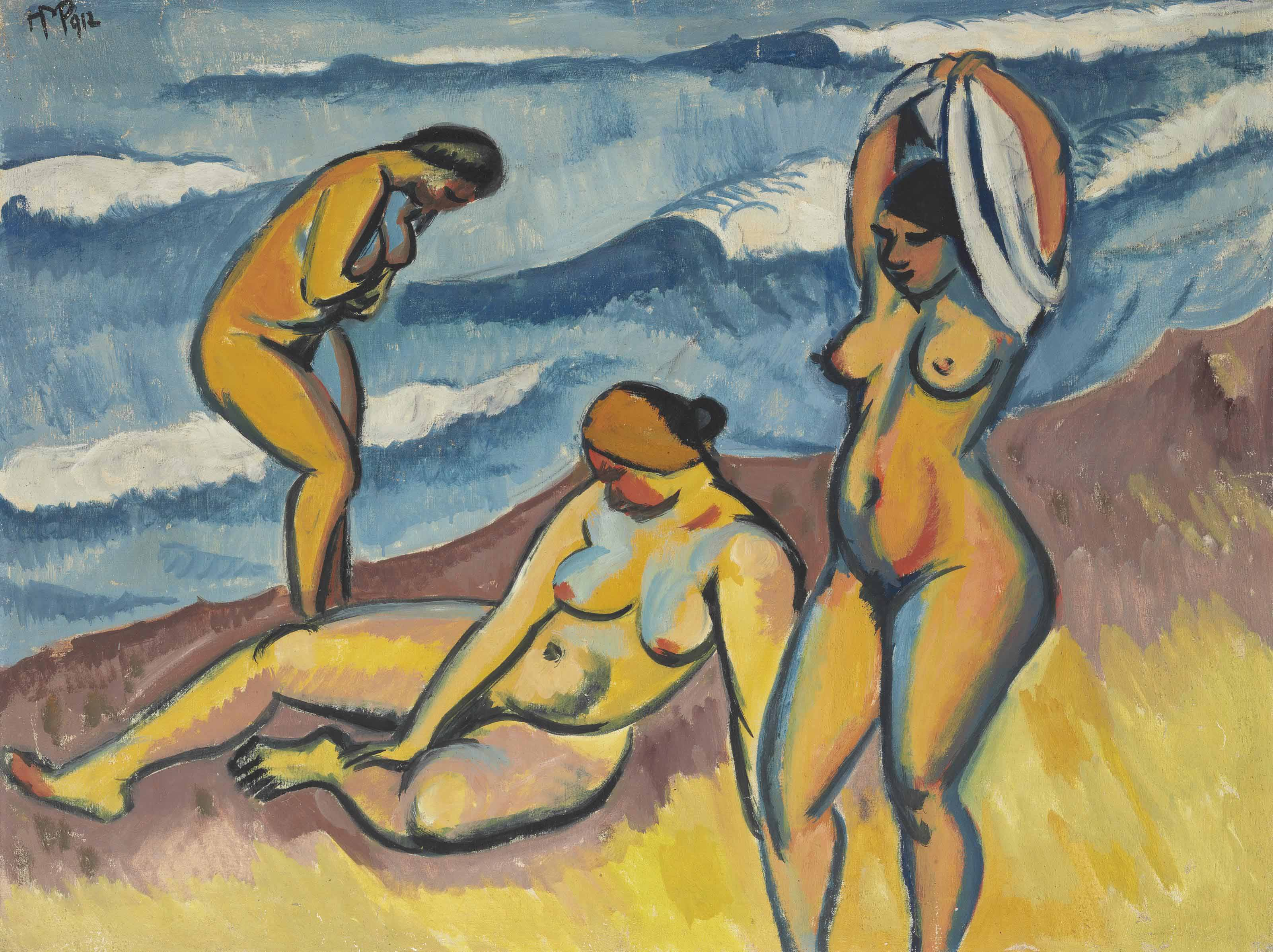 Drei badende Frauen am Meer