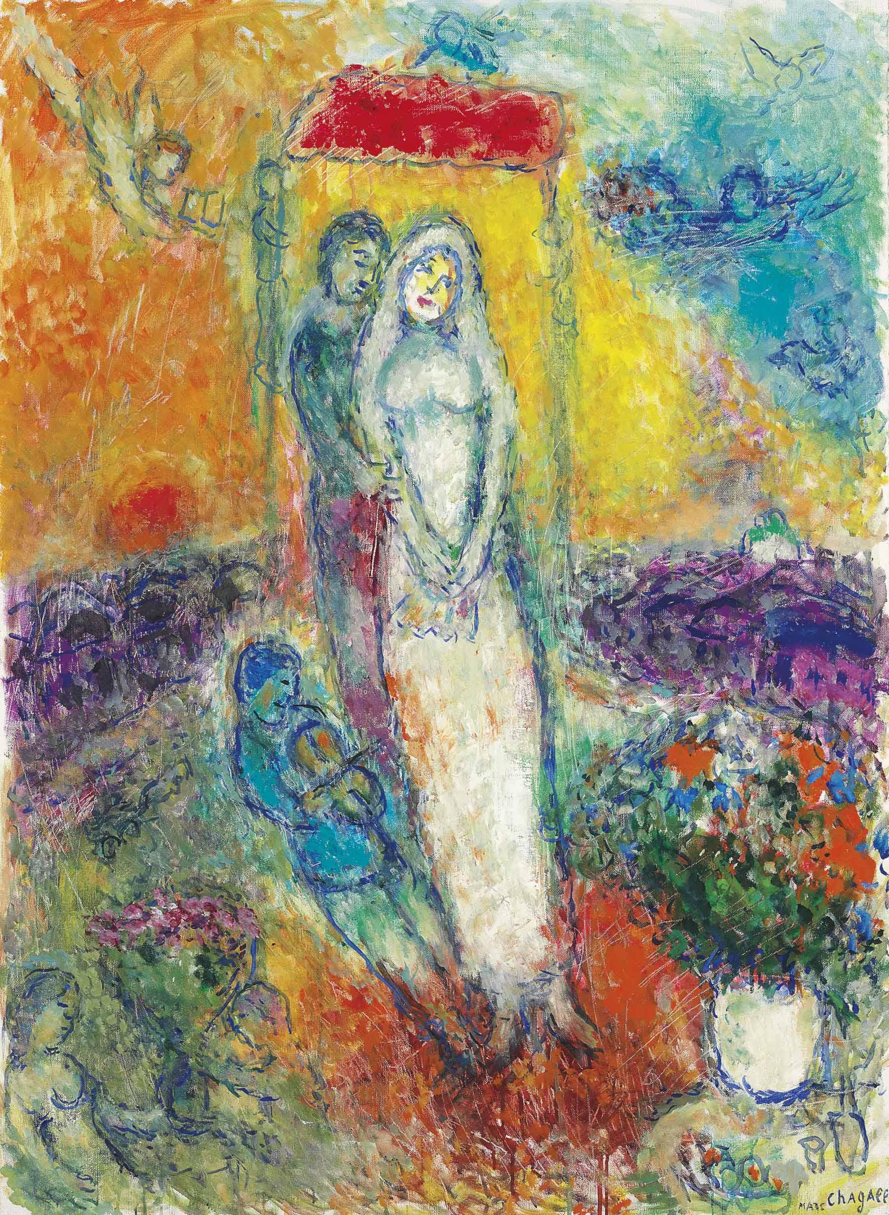Marc Chagall (1887-1985) | Les mariés sous le baldaquin | 1980s ...