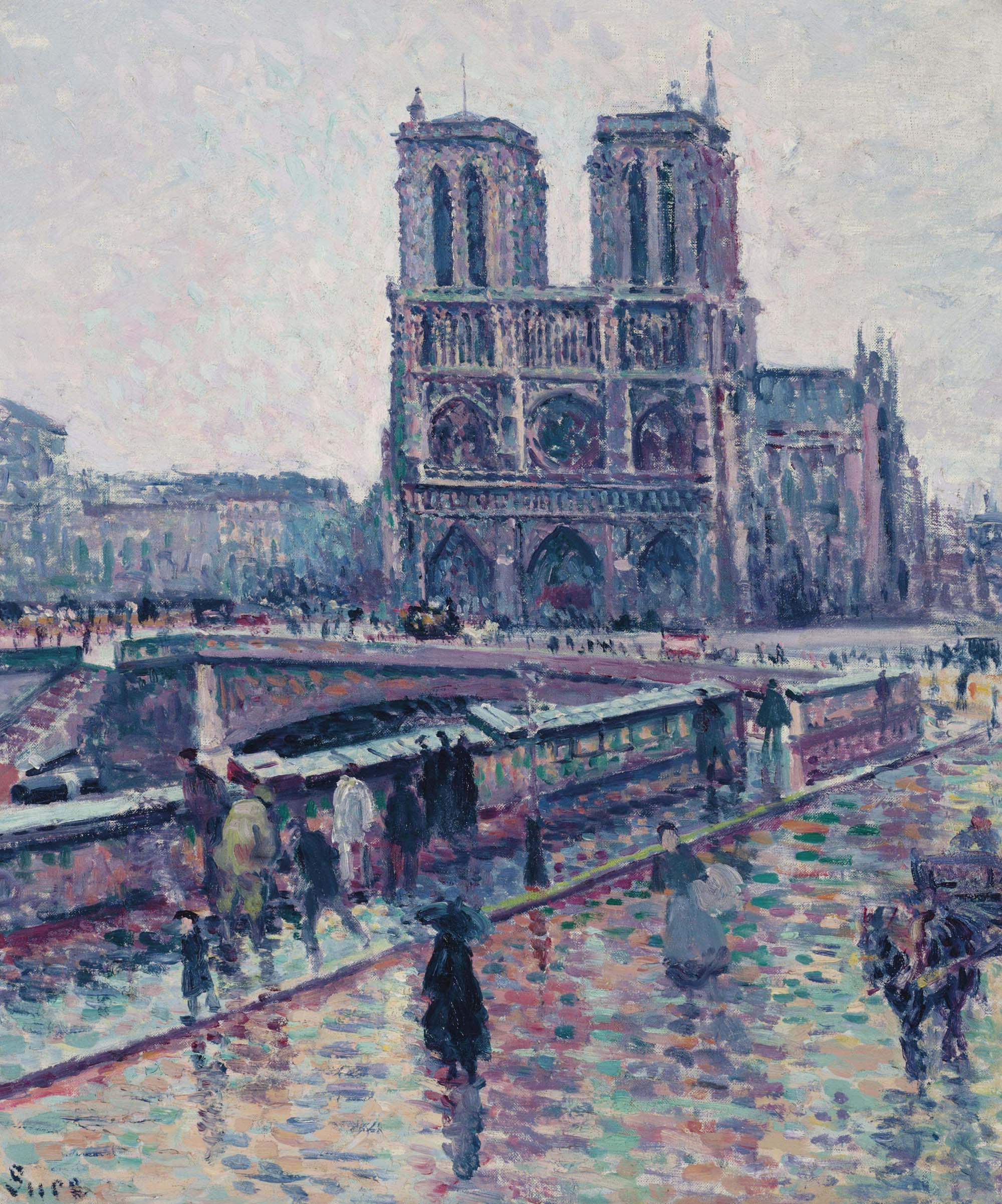 Bords de la Seine avec Notre-Dame sous la pluie