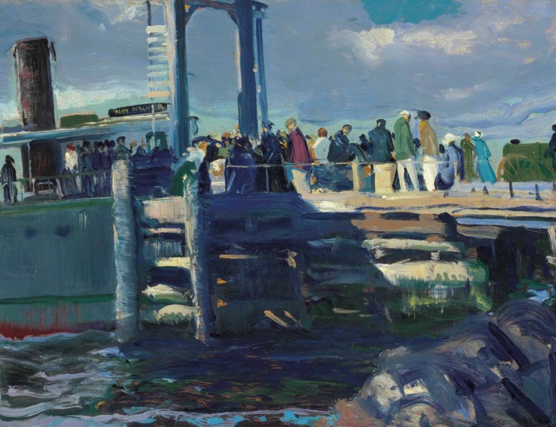 George Wesley Bellows (1882-1925), The Dock, painted in 1913. 15 x 19½  in (38.1 x 49.5  cm). Sold for $1,985,000 on 19 November 2015 at Christie's in New York