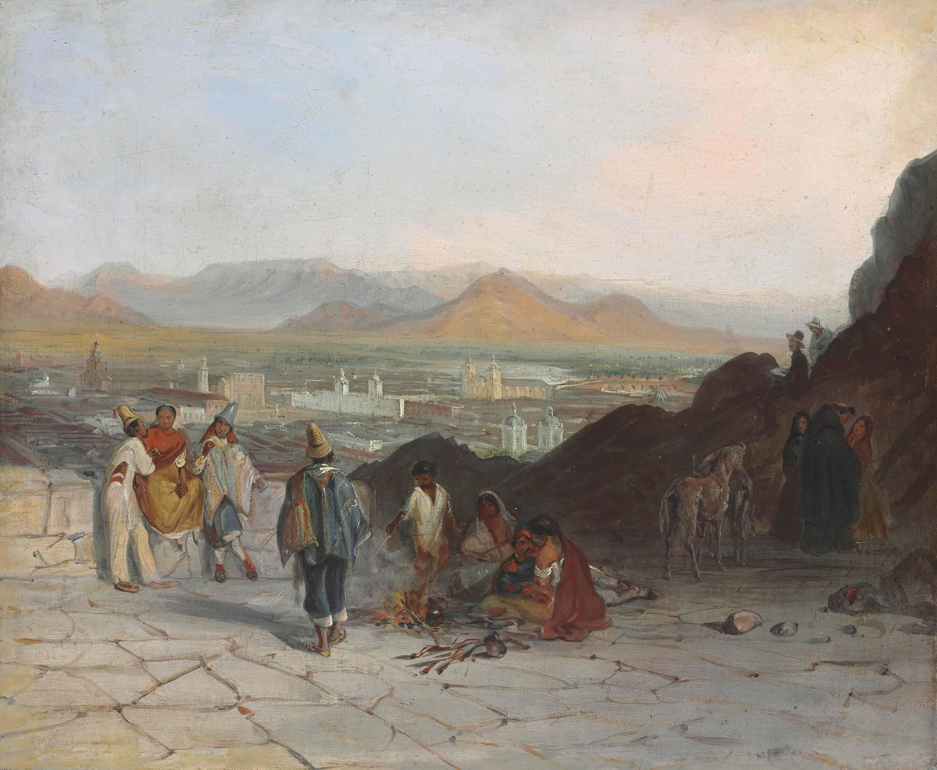 Vista de Santiago desde el cerro Santa Lucía hacia el oriente