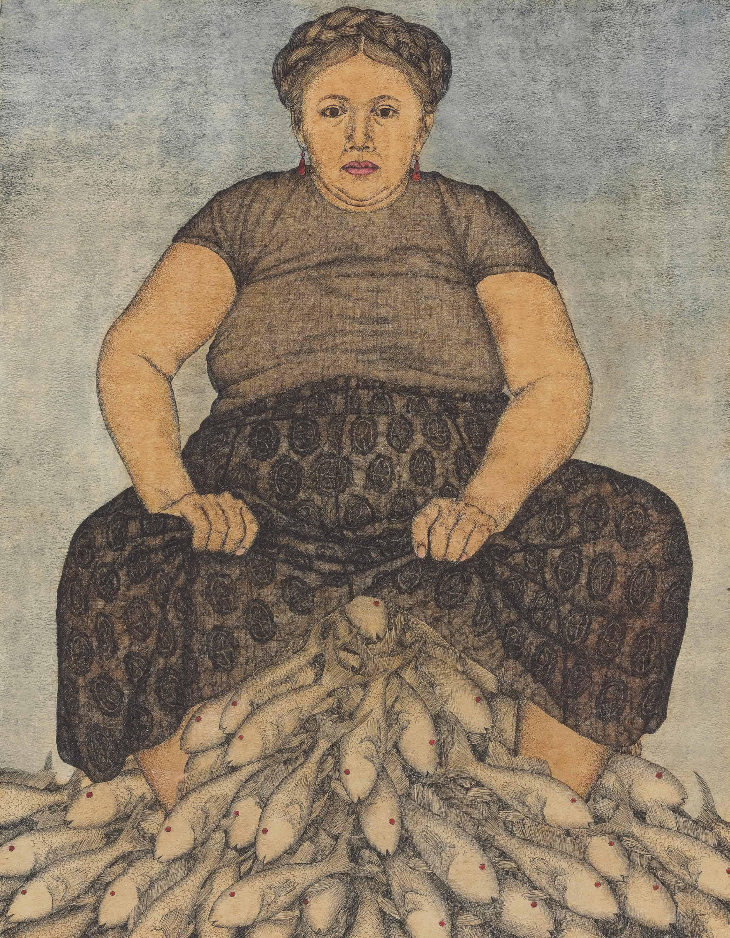 Señora y peces