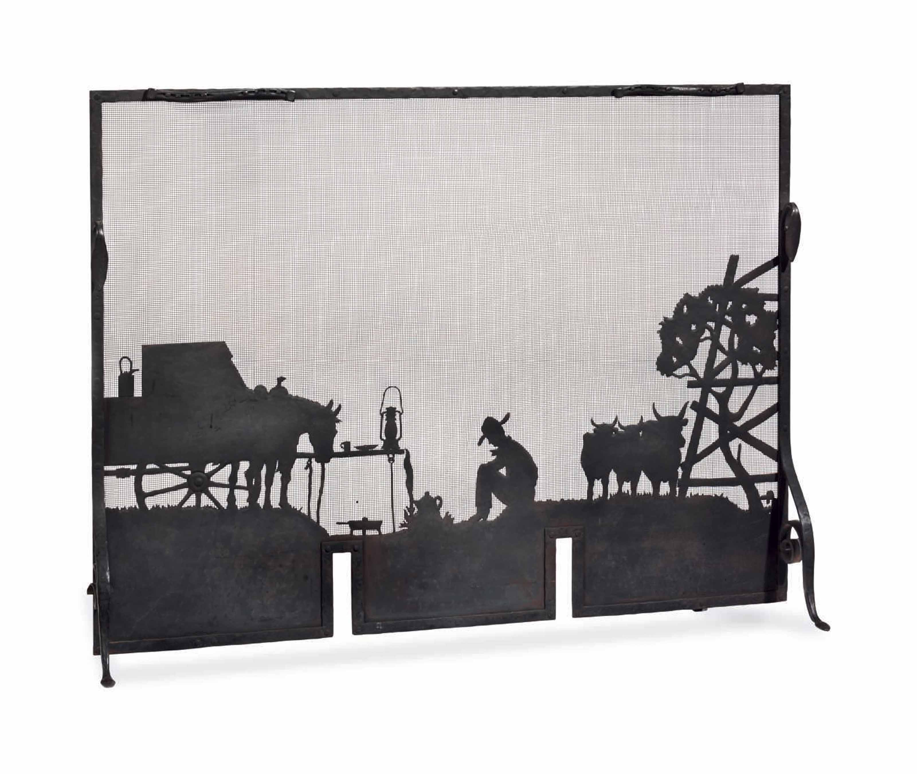 AN AMERICAN WESTERN DESIGN WROUGHT-IRON FIRESCREEN