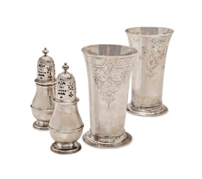 TWO JAMES I SILVER BEAKERS AND