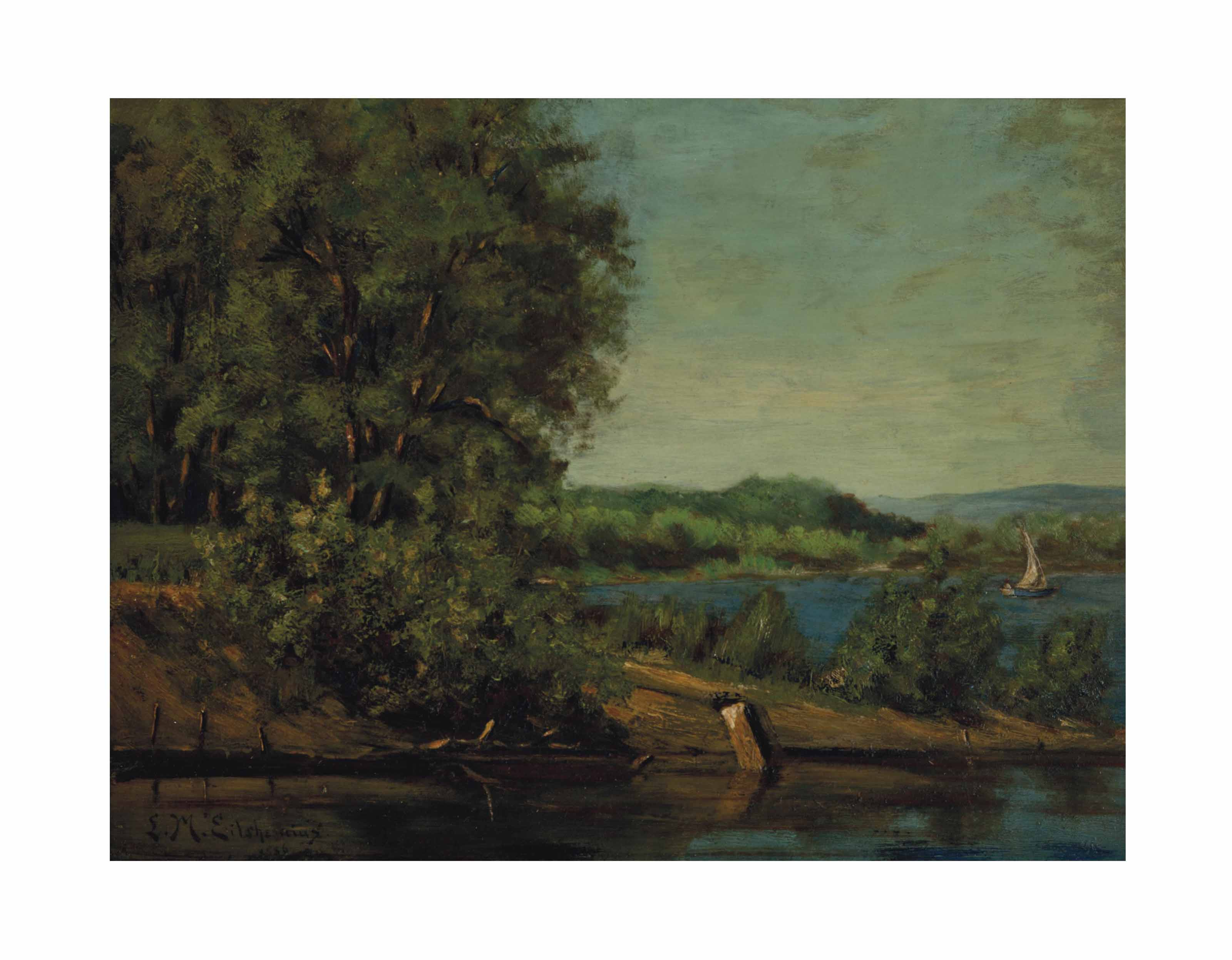 A Lake Scene with a Boat and a House in the Distance