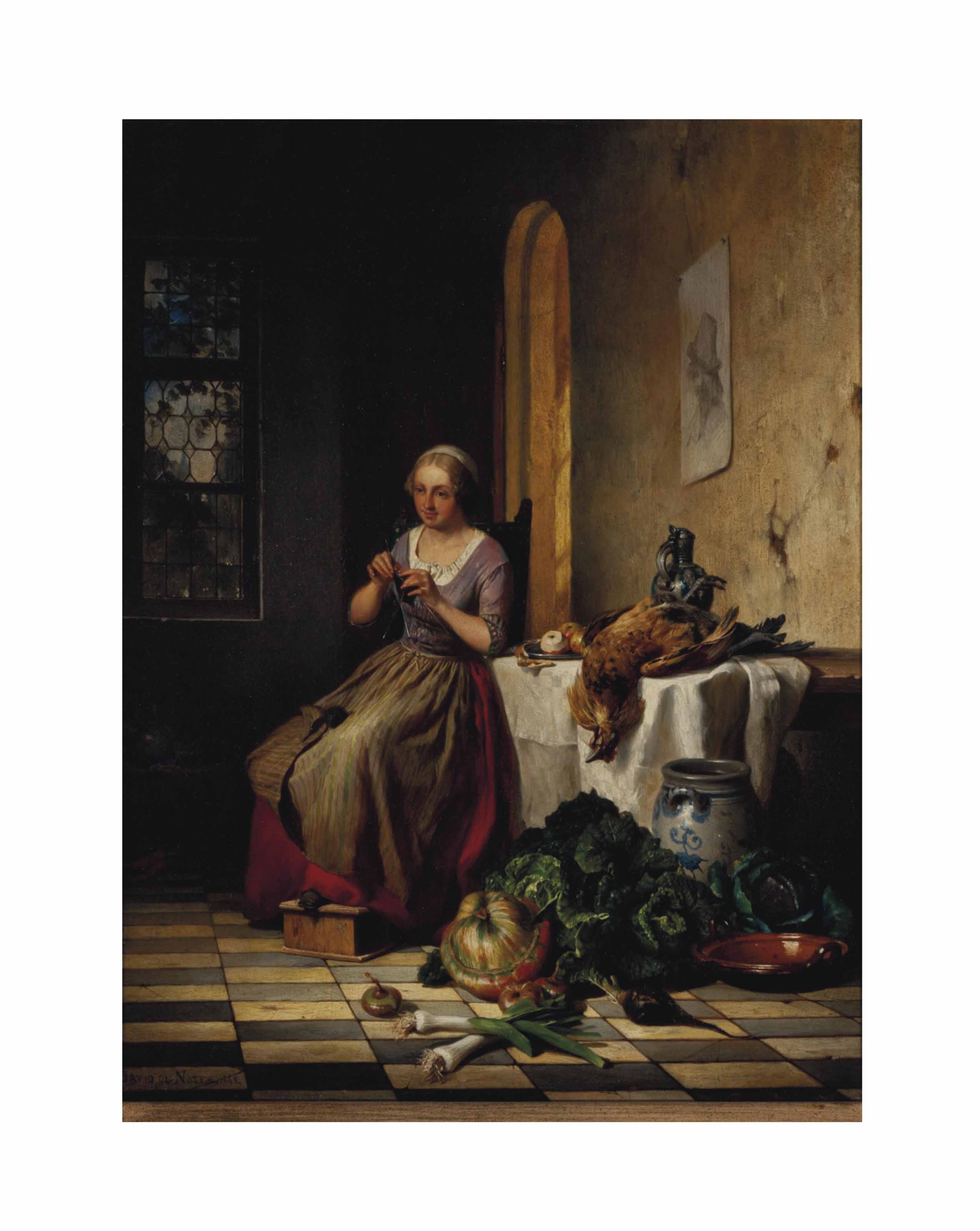 Woman knitting in an interior