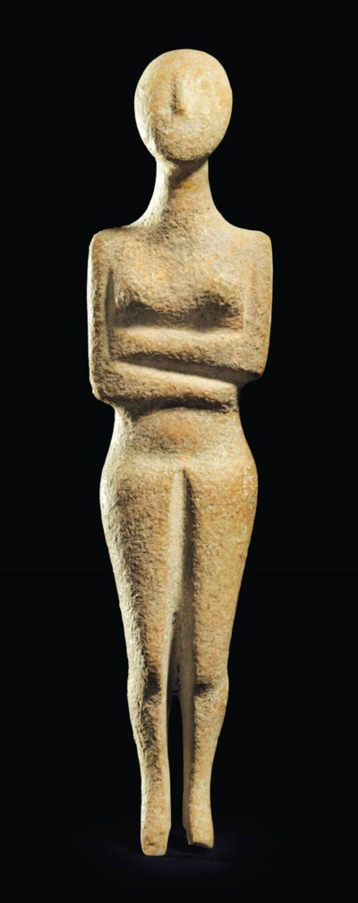 A Cycladic Marble Female Figure Kapsala Variety Early