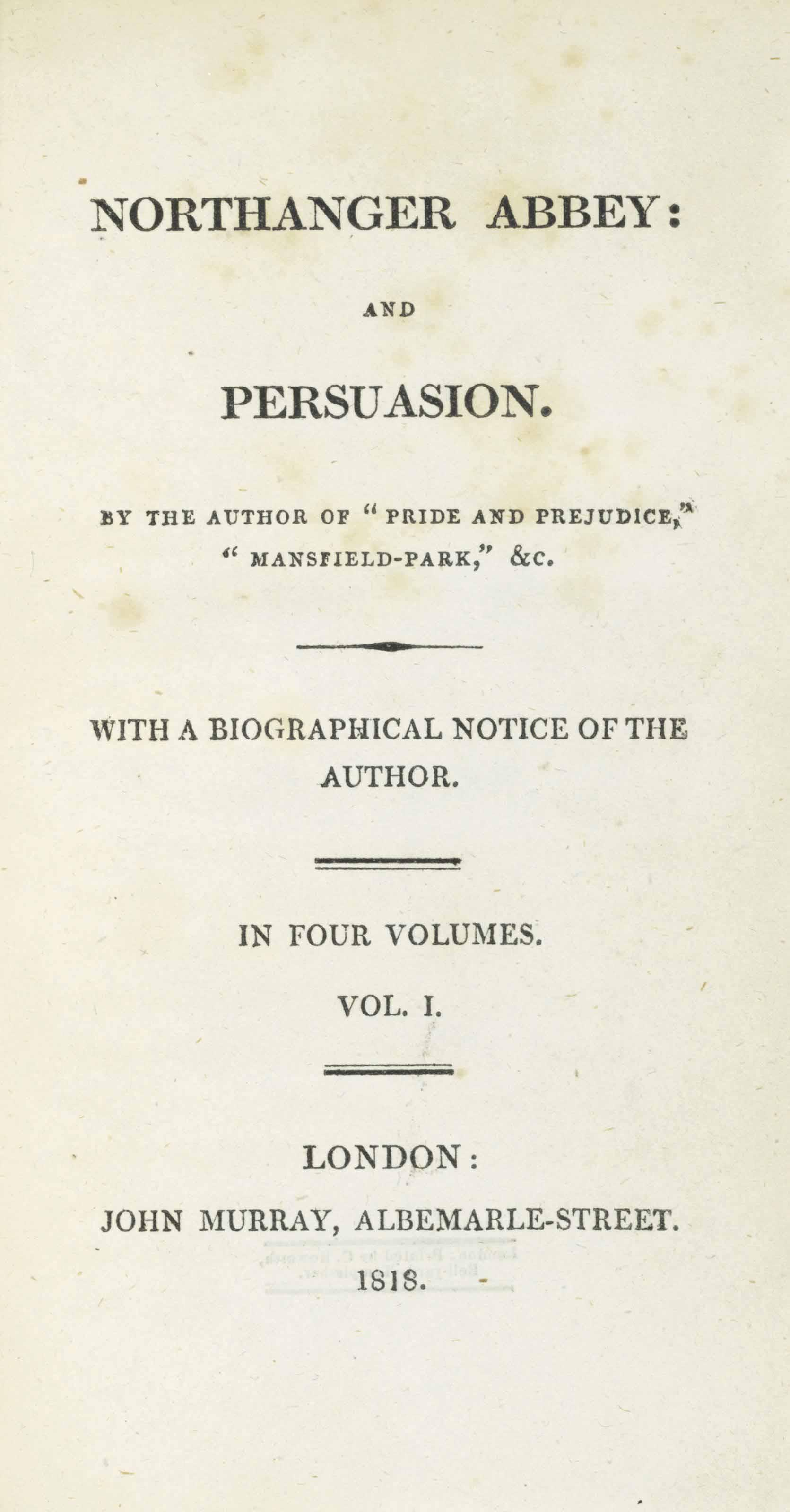[AUSTEN, Jane]. Northanger Abbey and Persuasion. London: John Murray, 1818.