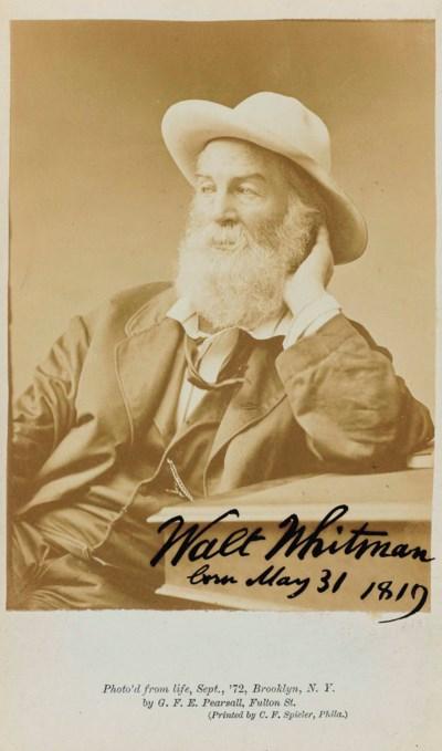 WHITMAN, WALT (1819-1892). Cab