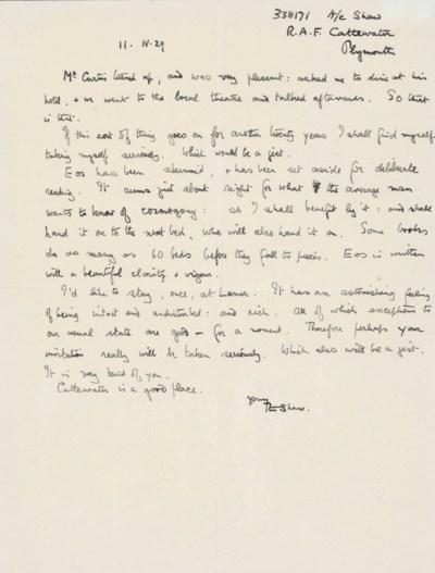 LAWRENCE, T. E. Autograph lett