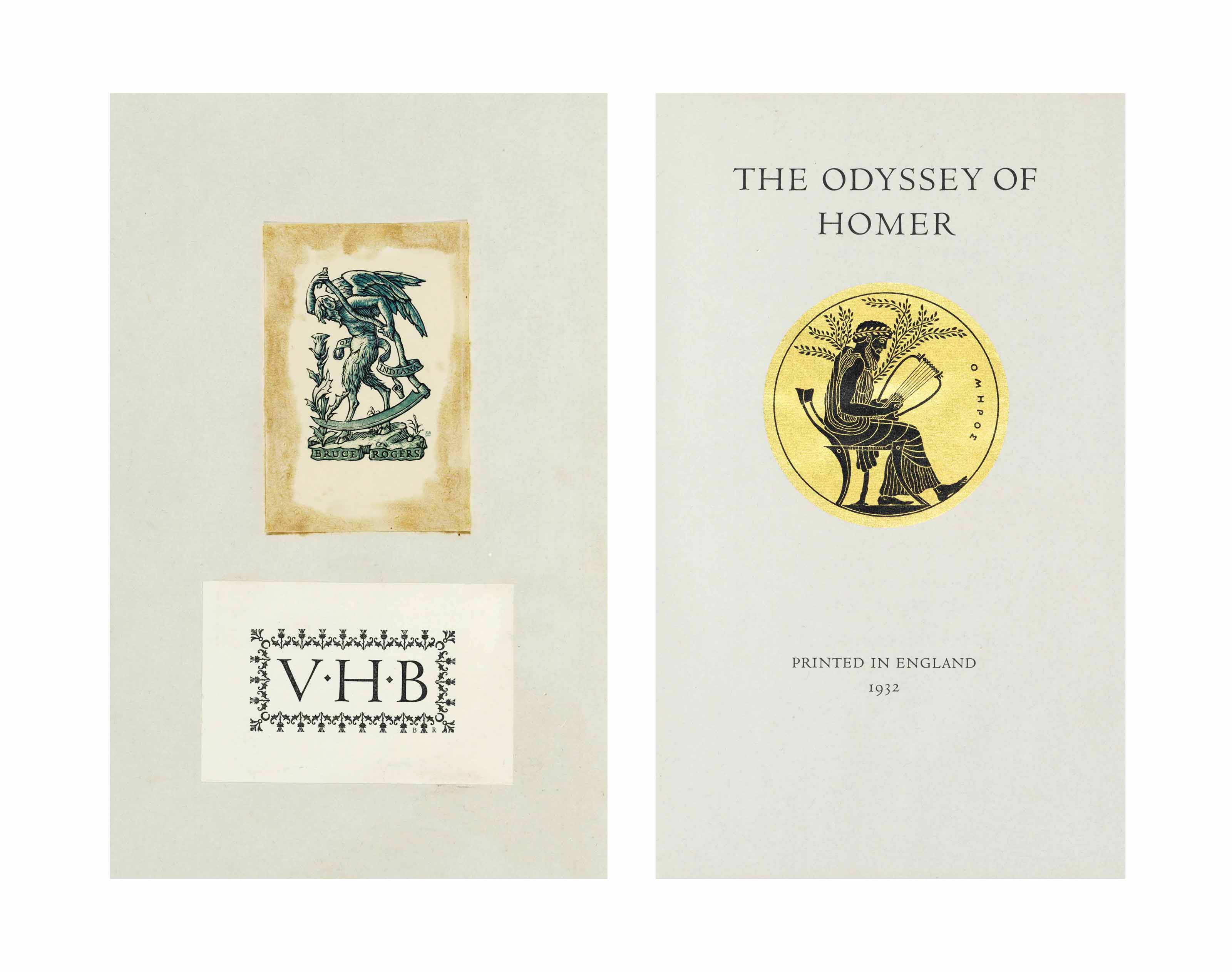 LAWRENCE, T. E., translator. – HOMER. The Odyssey of Homer. London: Sir Emery Walker, Wilfred Merton and Bruce Rogers, 1932.