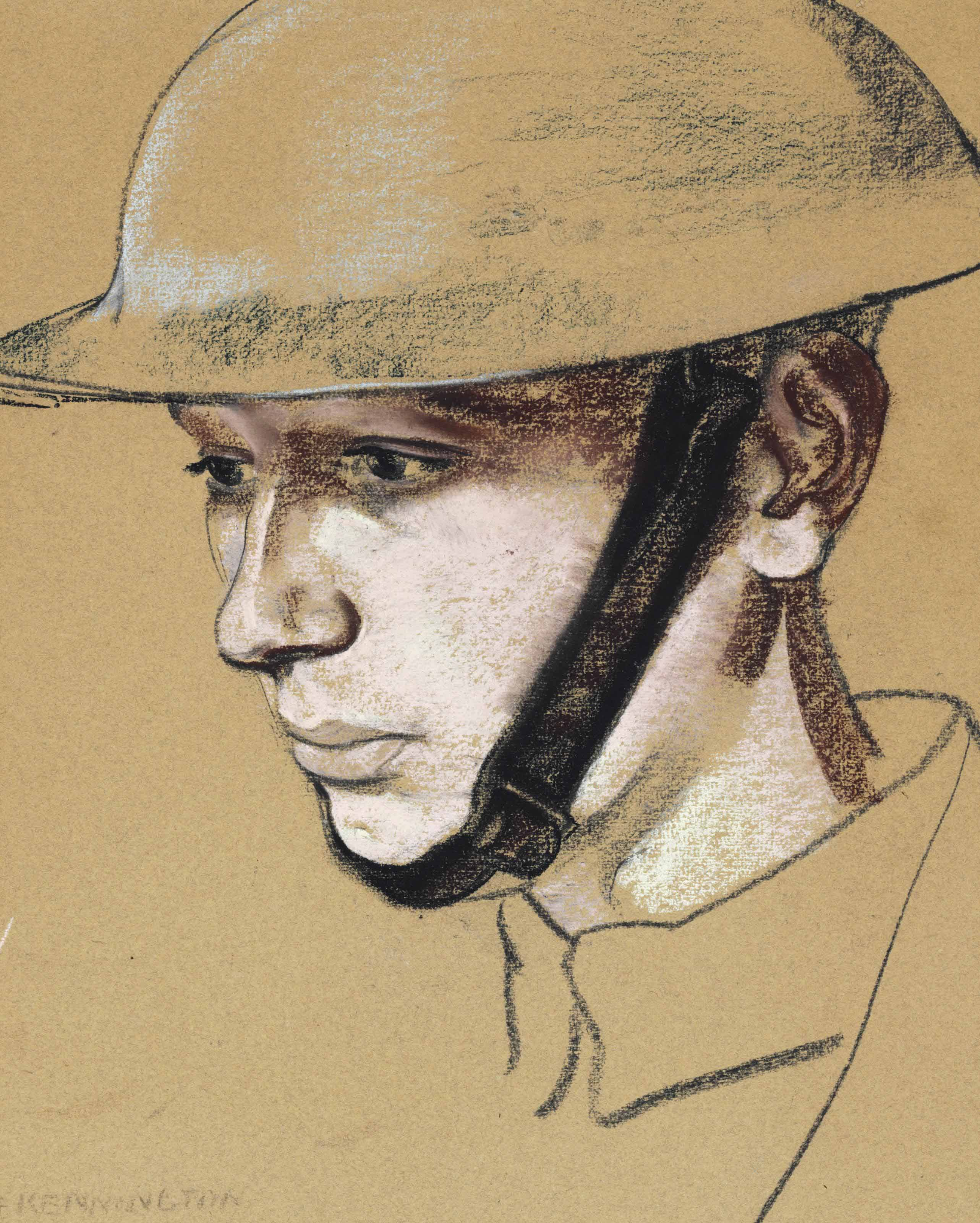 "KENNINGTON, Eric, R.A. (1888-1960). Portrait of a Soldier. Charcoal and pastel on paper, signed at lower left ""E. KENNINGTON."" 15 x 12 inches. Framed. Provenance: Siegfried Sassoon (1886-1967); and by descent; sold Christie's King Street 6 June 2007, lot 105."