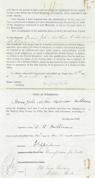 CHURCHILL, Winston S. Document