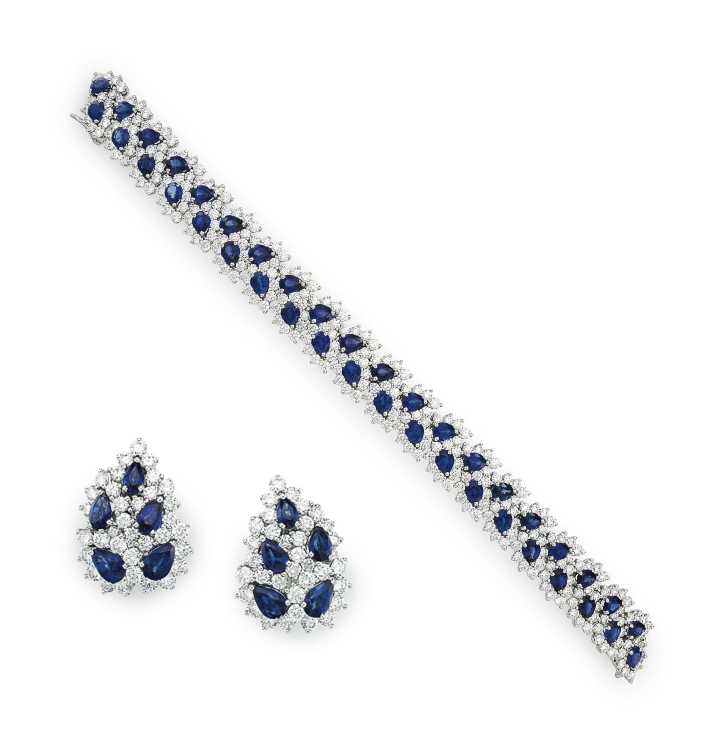 2875e006dbdfc A SET OF SAPPHIRE AND DIAMOND 'LEAF' JEWELRY, BY TIFFANY & CO ...