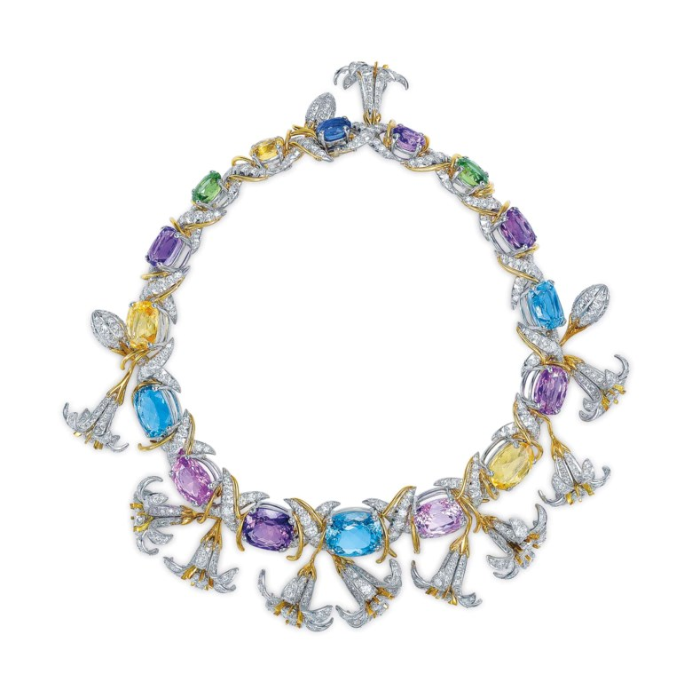 A multi-gem, gold and platinum Jasmin necklace, by Jean Schlumberger, Tiffany & Co.Sold for $725,000 on 10 December 2015 at Christie's in New York