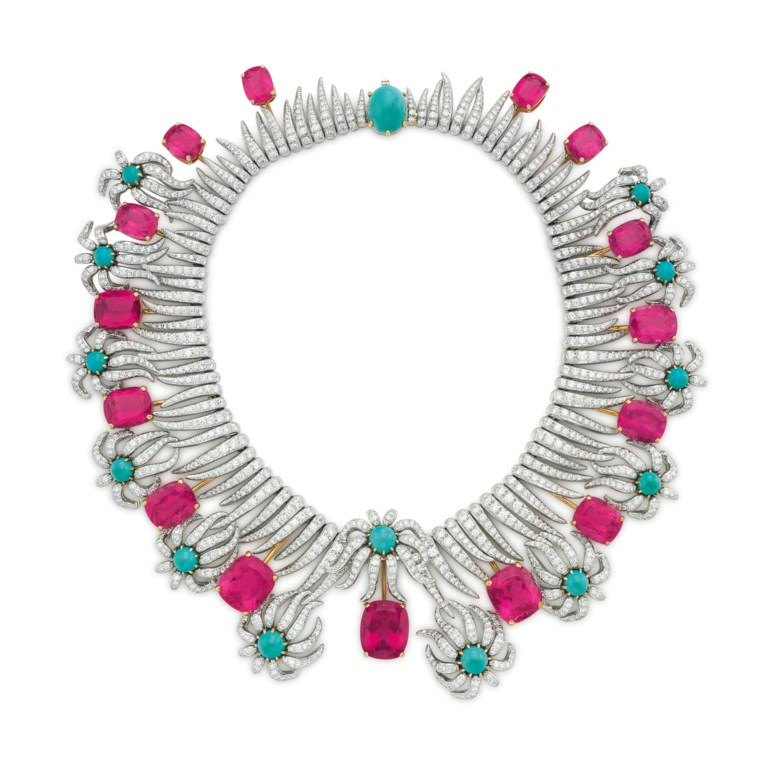 Property from the Estate of Carroll Petrie. A multi-gem and diamond 'Hedges and Rows' necklace, by Jean Schlumberger, Tiffany & Co. Sold for $905,000 on 10 December 2015 at Christie's in New York
