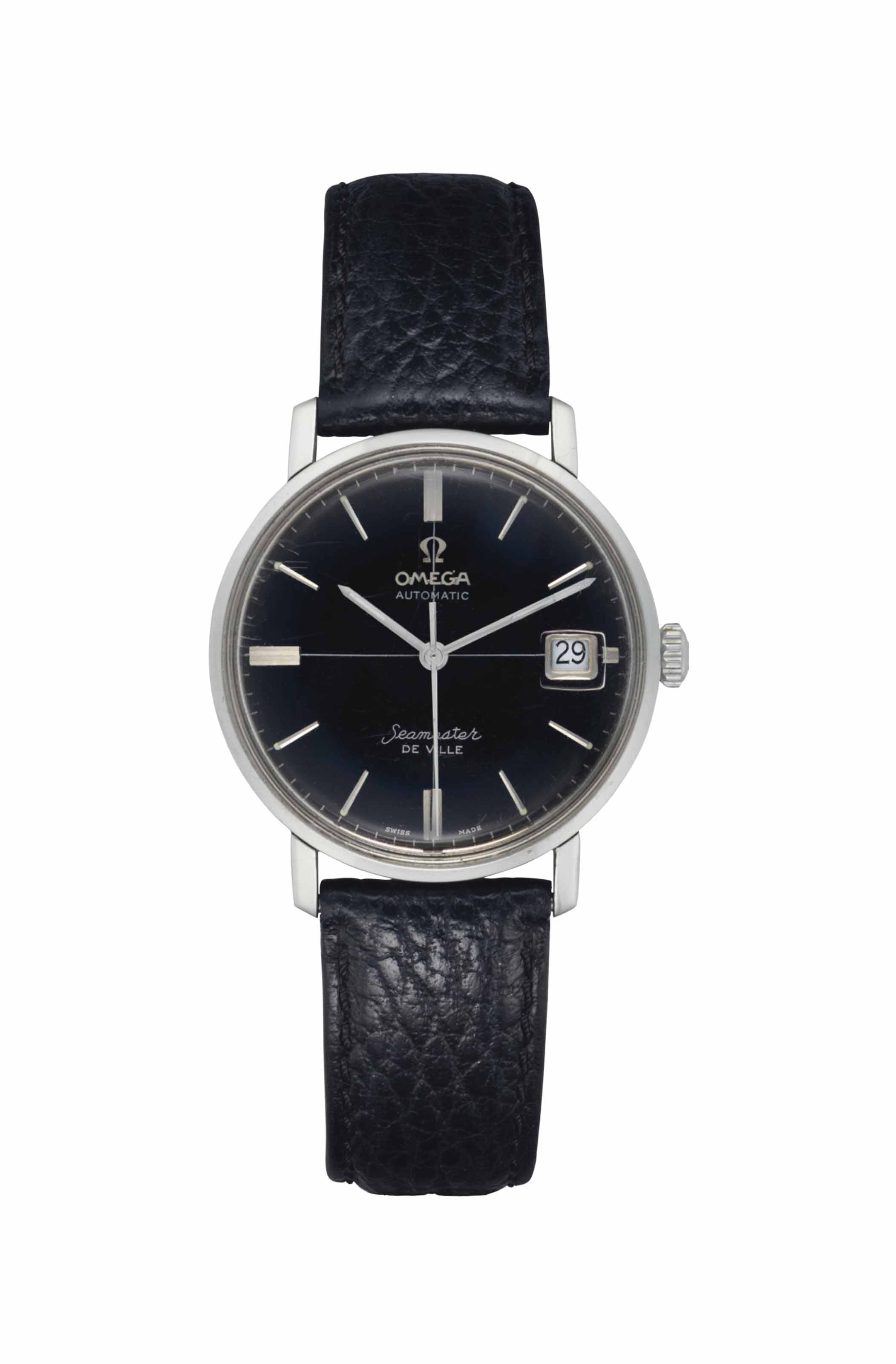 """Omega. A Very Attractive Stainless Steel Automatic Wristwatch with Center Seconds and Date, Worn on the TV Show """"Mad Men"""""""